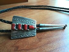 Sterling & Coral Bolo Tie, Signed MR