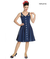 Hell Bunny Vintage 50s Pin Up Dress Navy Blue SELA Nautical Anchors All Sizes