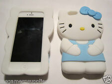 Blue Large HELLO KITTY iPhone SE 5S 5G 5 Silicone Gel Rubber Designer Full Case