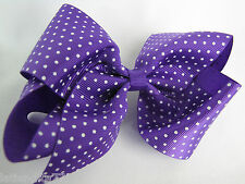 Large 5in. Hair Clip Purple Bow with White Dots Metal Clip NWT