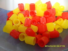 100 Mixed Red and Yellow Dust Caps for Cars, Bikes, ATV, Tractors etc