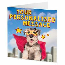 PERSONALISED masked superhero Schnauzer dog funny Birthday Mother's Day card
