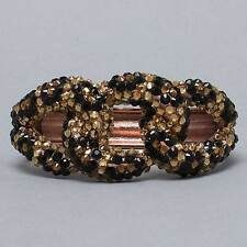 Statement GLAM Rose Gold Leopard Crystal Hinge Bangle Bracelet - Rocks Boutique