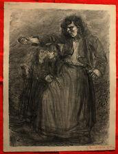 Lithographie-Henri de Groux - Imprécation