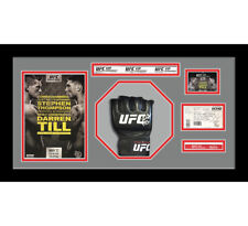 More details for 1x signed ufc or mma glove mitts in octagon 3d design box frame - grey mount
