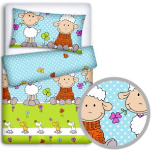 2PC BABY BEDDING SET 120x90 PILLOWCASE DUVET COVER FIT COT Sheep Turquoise