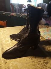 """Antique Victorian â—‡ Black Leather Lace Up Boots 11.5"""" Tall â—‡ Fabulous Condition"""