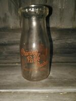Vintage Driving Park Dairy wellston, ohio Half pint glass milk jar bottle GUC