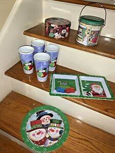 Tin Cans Durable Plastic Snowman Cups And Serving Tray Platters Lot 8 ❤️tw11j