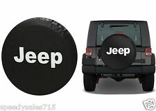 "Black Jeep Logo Spare Tire Cover Wheel R17 31""-32.6"" New Free Shipping USA"