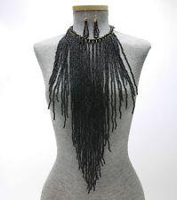 Black Pearl BEAD FRINGE BODY Long Bib NECKLACE Earring Boho Gypsy Hippie Set