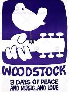 MUSIC FESTIVAL WOODSTOCK PEACE LOVE DOVE GUITAR BIRD ART PRINT POSTERBB6788B