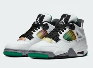 "Air Jordan Nike 4 Retro ""Rasta Green"" White/Black AQ9129 100 Womens 9"