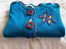 Vintage Michael Simon Southwestern Indian Beaded Aztec Sweater 1991, Size 2.