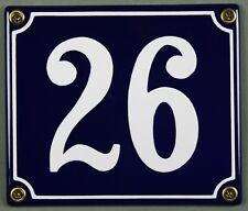 """Blaue Emaille Hausnummer """"26"""" 14x12 cm Hausnummernschild sofort lieferbar Schild"""