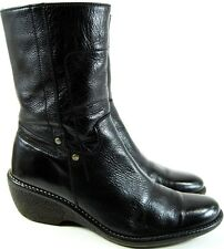 Bosi Women Leather Boots Size 5 Black 2 Inch Heels 9.5 Inches Tall Style 3705