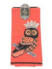 Owl Crown Spooky Orange/Black Halloween Tea Towels 100% Cotton Kitchen NEW
