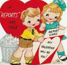Vintage Valentine Card Boy and Girl Report Card CAC Die-Cut for Child