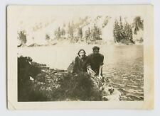 ODD ABSTRACT & PLAYFUL SNAPSHOT - COUPLE YELLING FUNNY FACES AT VIEWER VTG PHOTO