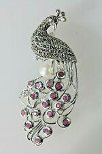 More details for peacock bird art deco vintage style jewelled brooch silver 925  rubies & pearl