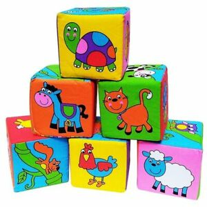 Baby Soft Cube Animal Toy Plush Block Clutch Newborn Educational Toys Accessory