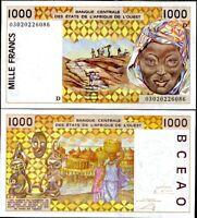 MALI WEST AFRICAN STATES 1000 FRANCS 2003 P 411 Dm AUNC ABOUT UNC