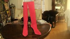 STRADIVARIUS ZARA GROUP RED SUEDE LEATHER HIGH KNEE PULL ON BOOTS*EU39*UK6*US8