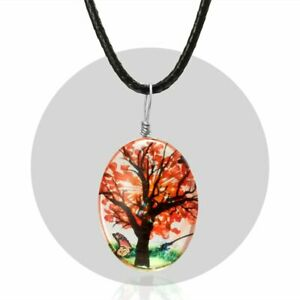 Fashion Wishing Real Dried Flower Tree Round Glass Pendant Necklace Jewelry Gift