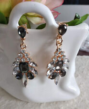 Orecchini Pendenti Strass Brillanti e Neri x Foro-Rhinestones Dangling Earrings