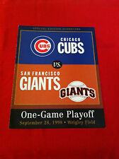 1998 MLB San Francisco Giants-Chicago Cubs playoff scorecard / Bonds / Sosa
