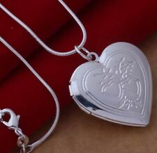 925 Sterling Silver Heart Locket Photo Charm Pendant Snake  Chain Necklace Gift