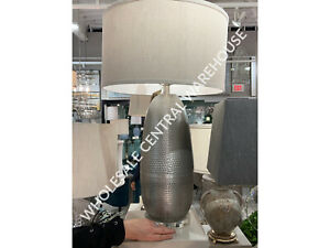 """URBAN INDUSTRIAL 32"""" BURNISHED HAMMERED METAL TABLE BUFFET LAMP CRYSTAL BASE"""