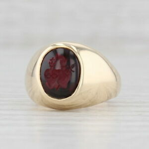 Catholic Intaglio Ring 10k Gold Immaculate Heart of Mary Sacred Heart of Jesus
