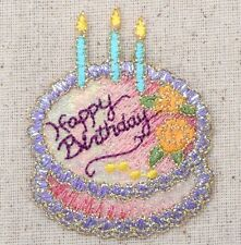 Iron On Embroidered Applique Patch Purple/Pink Happy Birthday Cake 156443