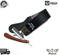 BARBER SALON STRAIGHT CUT THROAT WET SHAVING RAZOR SHAVETTE +LEATHER BELT STROP