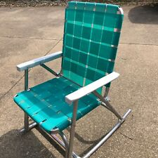 Vintage Sunbeam Rocking Lawn Chair High Back Aluminum Folding Webbed #23