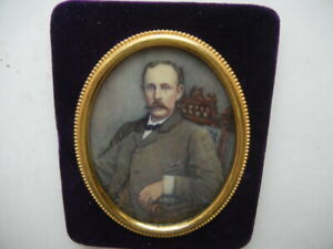 Hand Painted Portait Miniature  1902 GENTLEMAN,Seated in a chair