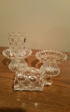 2 Partylite Voltive Candle Holders Clear Decorated Glass Retired