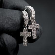 Mens Iced Cz Sterling Silver 2Pc Cross Drop Dangle Huggie Fashion Hoop Earrings
