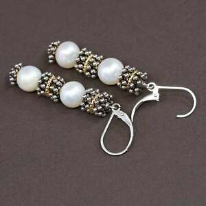 14K yellow gold trim w/ Sterling silver handmade earrings, 925 beads w/ pearl