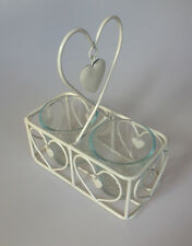 SHABBY Cream Chic Tealight Candle Holder with Heart Design