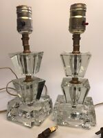 """Pair Vintage Clear Stacked Glass Vanity/ Boudoir Lamps 10"""""""