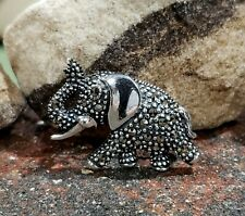 Vintage Lucky Elephant Sterling Silver Marcasite Brooch Protection Gift 6.9g