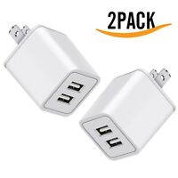 USB Charger, 5V Dual 2-Port 2.4 Amp Wall Charger USB Plug Charger Wall Plug