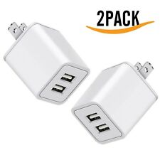 2x USB Charger, 5V Dual 2-Port 2.4 Amp Wall Charger USB Plug Charger Wall Plug