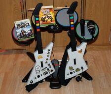 XBOX 360 ROCK BAND GUITAR HERO bundle 2 X-PLORER guitars drums mic 2 games
