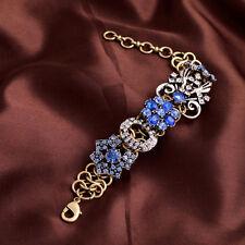 Bling Crystal Glass Rhinestone Floral Star Metal Gold Tone Cuff Bracelet