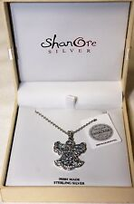 ShanOre Sterling Silver & Aquamarine Swarovski Crystal Trinity Angel Necklace