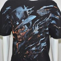 Harley-Davidson Mens 2XL Shirt Patriotic Top Hat Skull All Over Smoky Mountains