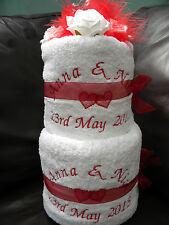 Personalizzata 2 TIER Asciugamano torta (6 Pezzi Asciugamano Set) Cotone Egiziano matrimonio regalo